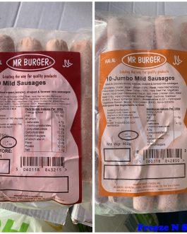 2 x Mr Burger Mild / Jumbo Mild Sausages